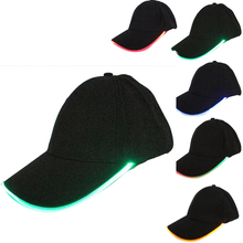 2017 LED Light Flash Baseball Cap Fashion LED Lighted Glow Club Party Black Fabric Travel Hat Stage Performance Snapback Hats(China)
