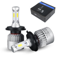 2Pcs H4 LED H7 H11 H8 9006 HB4 COB S2 Auto Car Headlight 72W 8000LM High Low Beam Bulb All In One Automobile Lamp 6500K DC9-36V