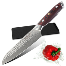 Wallop damascus knife santoku kitchen knife steel kitchen for vegetable brand material aus-10 7 inch knives(China)
