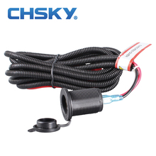CHSKY Universal 12v Car Cigarette Lighter Socket With High Quality Wiring Harness Heat Resistance Plastic Car Accessory(China)