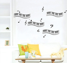 New Design Music Theme Home Decorative Wall Stickers Piano Keys Musical Symbols Wall Decals Music Classroom Bedroom Wallpaper