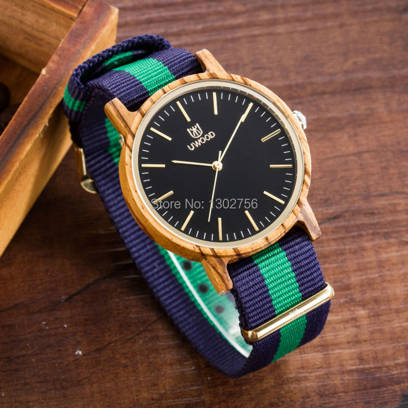 UWOOD Luxury Brand Natural Zebra Sandal Wood Nylon Band Wristwatch Japan Imported Movement Wood Dress Watch For Unisex<br>