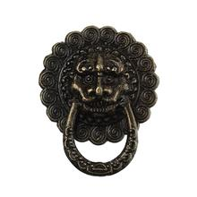 Jewelry Wooden Box Pull Handle Dresser Drawer For Cabinet Door Round Antique Bronze Lion Face Carved 23mm,30PCs(China)