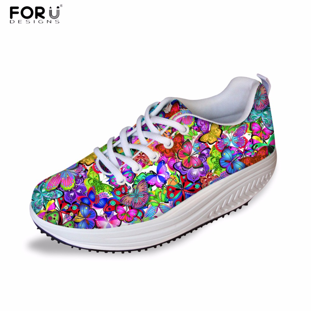 FORUDESIGNS 3D Cute Butterfly Printed Women 2017 Fashion Swing Shoes Height Increasing Wedge Shoes for Ladies Flats Platform  <br>