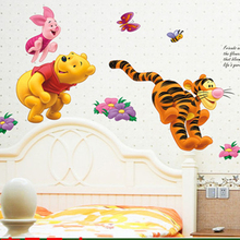 Winnie the Pooh Bear Tiger wall stickers for kids rooms adesivo de parede Cartoon kindergarten Wall decal Nursery Room Decor(China)