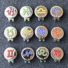 Wholesale 2017 New Crystal Zodiac Golf Ball Marker w Magnetic Golf Hat Clip 12pcs/lot
