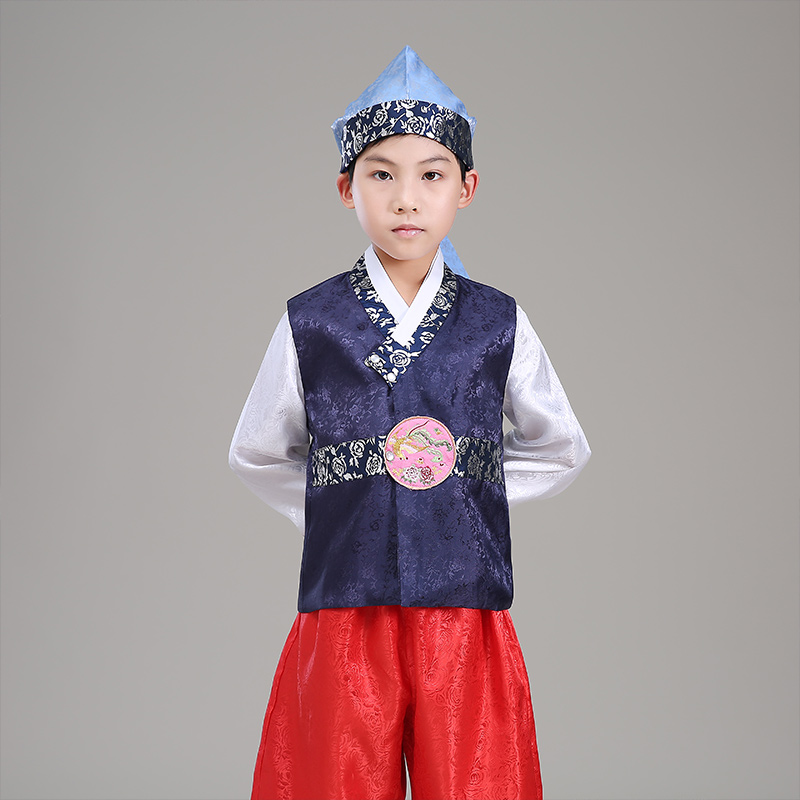 2017 winter boy korea traditional costume child hanbok clothing kids korean hanbok with hat for stage performance dance clothing<br>