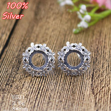 100% S925 Sterling Silver Jewelry Blank Stud Earrings For Wemon Inner 8mm Antique Silver Base Tray for Diy Earring Fittings