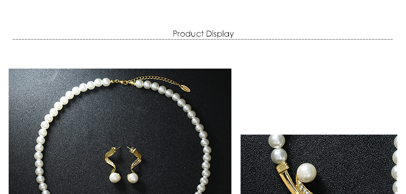 CWEEL Wedding Jewelry Sets Simulated Pearl Jewellery Sets For Women Fashion African Beads Jewelry Set Statement Necklace Set (1)
