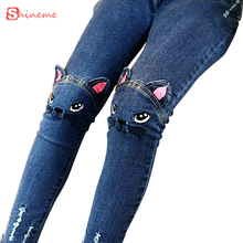 Autumn spring winter Children clothing girls legging cartoon cat jeans pants fashion pants capris baby Pencil Pants Trousers(China)