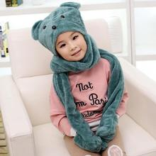2016 hot sale boys and girls cute bear cartoon hats scarves gloves,Warmth winter children plush hoodie gloves earcap Snood scarf(China)