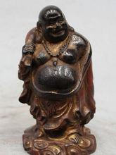 "SUIRONG---516+++Details about 6"" Chinese Buddhism Wood Stand Happy Laugh Maitreya Buddha Money Bag Statue"