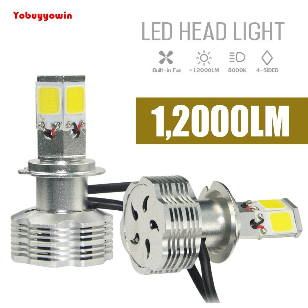 PX26D H7 Car 110W 12000Lm 6000K White LED Headlight Bulbs 4-Sided COB Head Light Led Headlamp Conversion Kit Error Free for cars<br>