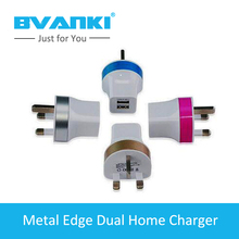 [Bvanki] 50Pcs/Lot Import China Products Pig Nose dual Port Usb Wall Charger Adapter Output US,EU,UK Plus Mobile Phone Charger