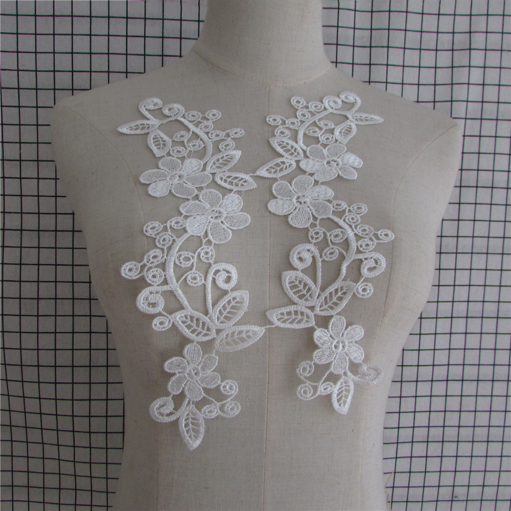 vintage guipure lace embroidered embellishment patches collar white beige