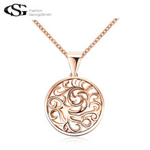 2017 GS Long Women Necklace Charms Classical Pattern Design Round Pendant Rose Gold Chains Hollow-out Jewelry for Women G23(China)