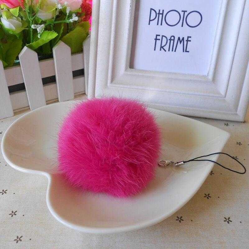 8CM Genuine Rabbit Fur Keychain women car key chain reall rabbit Fur Ball fur pompom key chains keyring porte clef llaveros