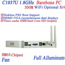Real power faction mini pc  Celeron C1037U aluminum fan dual core living room HTPC Barebone Mini pc with USB *4 HDMI RJ45