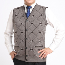 Autumn winter mens Cardigan 2016 new v-neck grid casual and simple thick wool vest men sleeveless knitted vest waistcoats