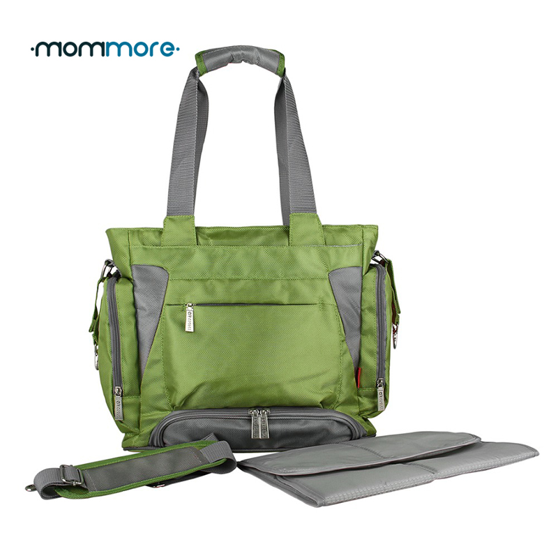 mommore Baby Diaper Bag Green Nappy Bag With Changing Pad Large Mother Tote Bags Mummy Handbags Waterproof Baby Stroller Bag <br>