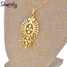 Shamty Ethiopian Style Pendant Necklace Pure Gold Color Chain Filled Jewelry African Eritrea Coptic Cross Abyssinia GIFT