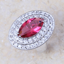 AAA CZ Lab Factory Direct Jewelry Imitation Red Crystal Silver Plated Fashion Ring J310 Shipping Wholesale