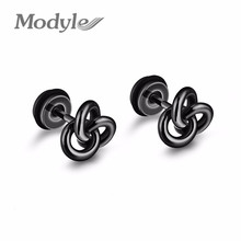Modyle New Unisex Twist Knot Stud Earrings Gold-Color Stainless Steel Man & Woman Jewelry Earrings(China)
