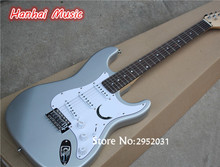 Hot Sale Custom Electric Guitar,Silvery Grey Color,White Pickguard,Rosewood Fretboard,3 Single Pickups,can be Customized