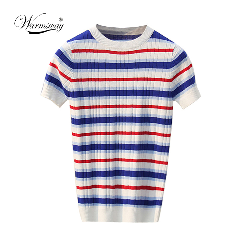 On Sale Preppy Style Striped T-shirt Brand High Quality Classic Bottom T-shirts For Women Colorful T Shirt Female Top Tee B-058