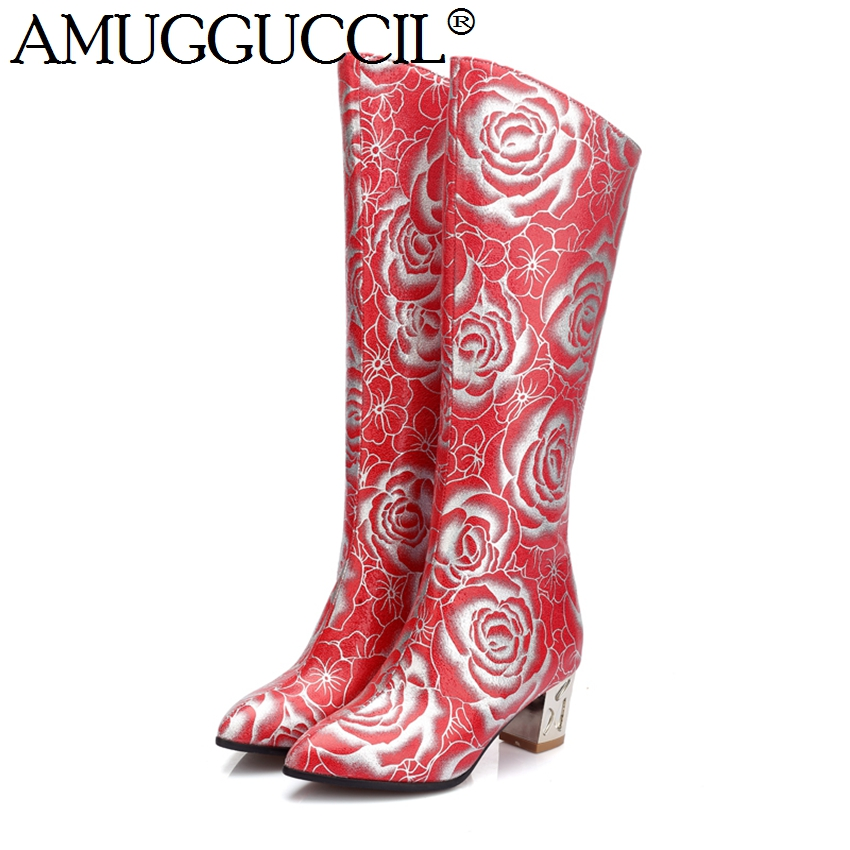 2018 New Plus Big Size 33-48 Black Red White Zip Fashion Knee High Autumn Spring Females Lady Womens Boots X1484<br>