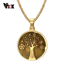 "Vintage Tree of Life Necklace Free 24"" Chain Gold-color Surgical Steel Prayer Necklace Men Jewelry(China)"