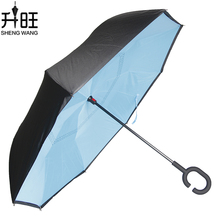 Double Layer Inverted Umbrella Windproof Rain Folding sky Umbrellas Women Unti-UV Man