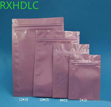 High Quality 500pcs pink Zipper Top Flat Storage Bag Heat Sealing Metallic Mylar Glossy Pink Zip Lock Bags with Tear Notch(China)