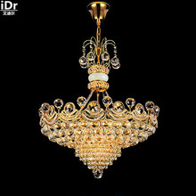 European luxury fashion crystal lamp living room modern dining hall bedroom traditional light golden gold Chandeliers Lmy-0185(China)
