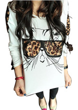 High Quality NEW 2015 New Brand European Women Cat Leopard Print T-Shirt Cotton Long Sleeve T Shirt Female Tops & Tees Shirts(China)