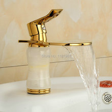 Gold Brass Material Basin Mixer Tapswith White Marble Stone Bathroom Basin Faucet Deck Mounted Tap G101