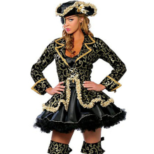 European style sexy female pirate role-playing costumes halloween costume for women sexy black gold uniforms brand clothing(China)