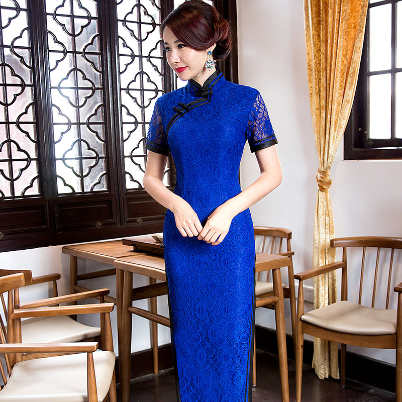 New Arrival Vintage Chinese Style Women Long Lace Cheongsam Qipao Summer Novelty Sexy Dress S M L XL XXL F081223