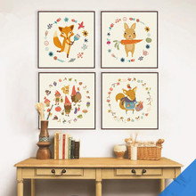 Small Animals Harvest Art Poster Print Simple Canvas Wall Art Picture Painting Kids Room Decor Prints QS0006