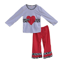 2017 Valentine Gift Boutique Girls Clothing Polka Dots Love Heart Shaped Pattern Tees Shirts Baby Legging Clothes Sets V010
