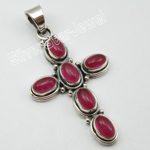 "Unique Designed Silver Authentic RED Quartzs Tribal Pendant 1.8"" ! Bijoux(China)"