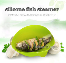 Silicone Fish Kettle Steamer Bowl,Soft Paste Steam Folding Bowl Microwave Oven Silicone Cooking Tools Accessories Supplies K001(China)