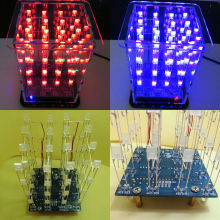 New Colorful 4*4*4 3D  LightSquared White  Blue&Red Ray LED 3D LED Cube DIY Kit Tempered Ability