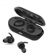 2017 Newest Black Wireless Bluetooth Headset Mini Earphone Together Stereo Earbuds with Charging Dock for IP Android Phone(China)