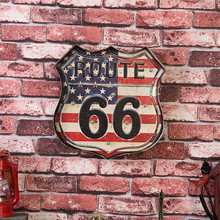 Fashion Vintage Decor Painting Restaurant Bar Wall Decoration Route 66 Signboard Advertising Hanging Neon Sign LED Mural Metal(China)