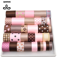 High quality 34 Yard Mix Brown & Pink Ribbon Set For Diy Handmade Gift Craft Packing Hair Accessories Wedding Materials Package(China)