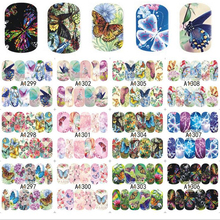 Moglad 12 Designs/Sheet Colorful Butterfly Full Cover Water Transfer Decals Nail Art Manicure DIY Sticker Fingernail Wraps