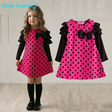 Bear Leader New 2016 autumn /spring children clothing girls polka dot dress long-sleeve kids girls princess dress kids clothes