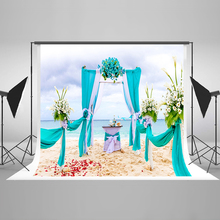 Wedding Backdrops Sky Blue Sea Digital Printing Background Beach Flowers Petals Wedding Background for Photographic Studio(China)