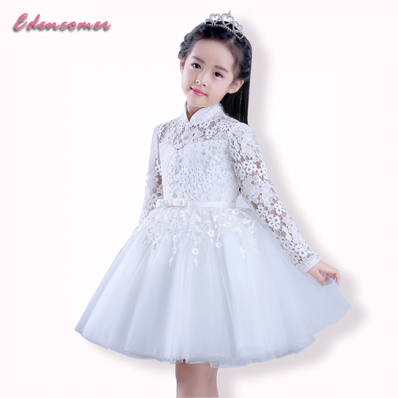 Spring Autumn Vestidos 2017 White Child Baby Kids Girls Dresses Long Sleeve Pageant Lace Flower Girl Dress Party Princess Dress<br>